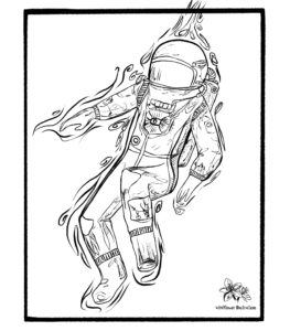 spaceman, illustration, wildflower